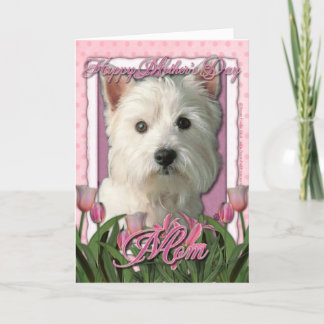Mothers Day - Pink Tulips - West Highland Terrier Card