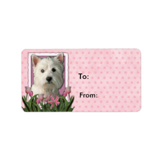 Mothers Day - Pink Tulips - West Highland Terrier Label