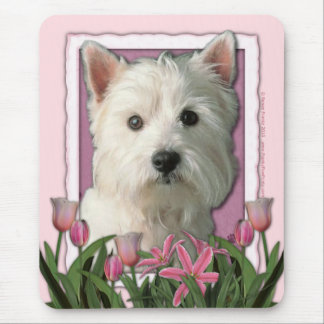 Mothers Day - Pink Tulips - West Highland Terrier Mouse Pad