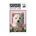 Mothers Day - Pink Tulips - West Highland Terrier Postage Stamp