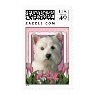 Mothers Day - Pink Tulips - West Highland Terrier Stamps