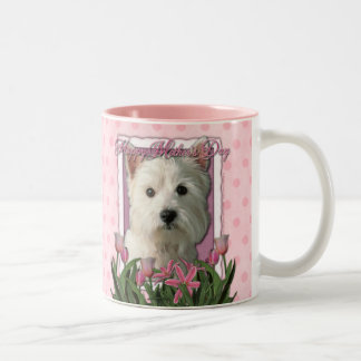 Mothers Day - Pink Tulips - West Highland Terrier Two-Tone Coffee Mug