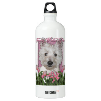 Mothers Day - Pink Tulips - Westie Aluminum Water Bottle