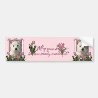 Mothers Day - Pink Tulips - Westie Bumper Sticker