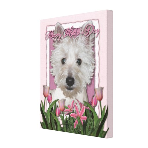 Mothers Day - Pink Tulips - Westie Canvas Print