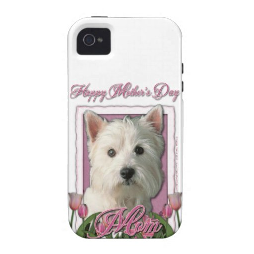 Mothers Day - Pink Tulips - Westie Case For The iPhone 4