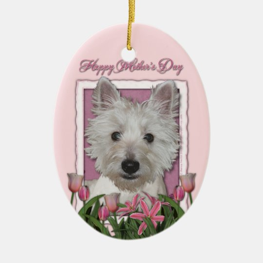 Mothers Day - Pink Tulips - Westie Ceramic Ornament