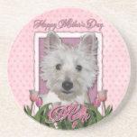 Mothers Day - Pink Tulips - Westie Beverage Coaster