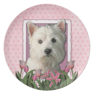 Mothers Day - Pink Tulips - Westie Dinner Plate