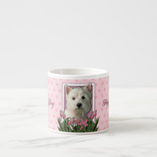 Mothers Day - Pink Tulips - Westie Espresso Cup