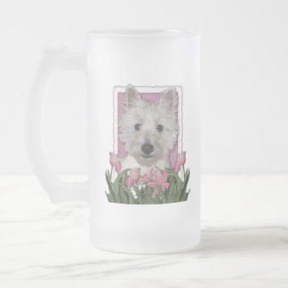 Mothers Day - Pink Tulips - Westie Frosted Glass Beer Mug
