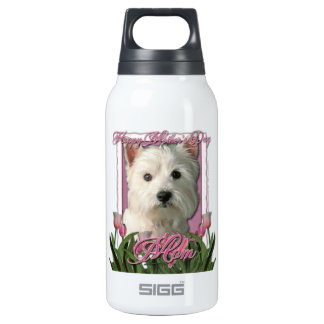 Mothers Day - Pink Tulips - Westie Insulated Water Bottle