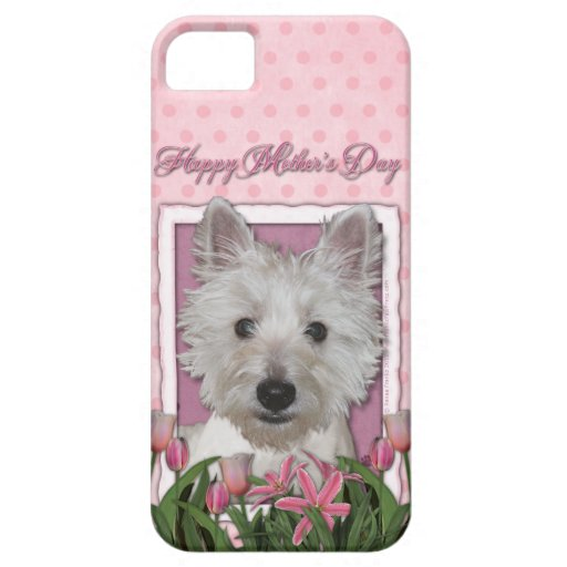Mothers Day - Pink Tulips - Westie iPhone 5 Cover