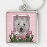 Mothers Day - Pink Tulips - Westie Key Chains
