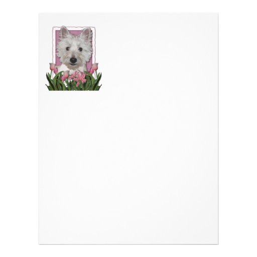 Mothers Day - Pink Tulips - Westie Letterhead Template