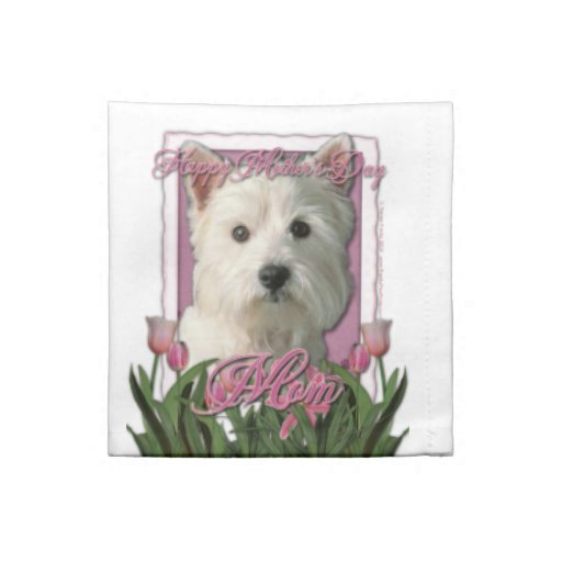 Mothers Day - Pink Tulips - Westie Napkins