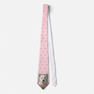 Mothers Day - Pink Tulips - Westie Neck Tie