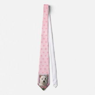 Mothers Day - Pink Tulips - Westie Neck Tie