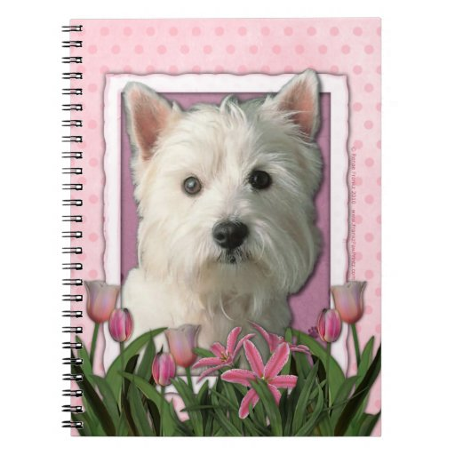 Mothers Day - Pink Tulips - Westie Notebooks
