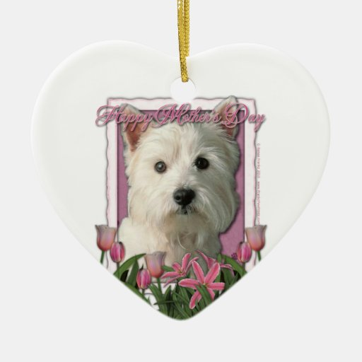 Mothers Day - Pink Tulips - Westie Ornament
