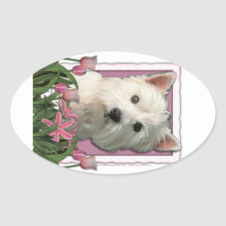 Mothers Day - Pink Tulips - Westie Oval Sticker