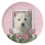 Mothers Day - Pink Tulips - Westie Party Plates