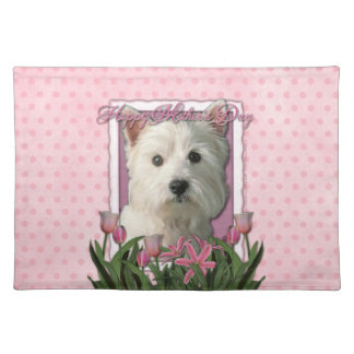 Mothers Day - Pink Tulips - Westie Placemat