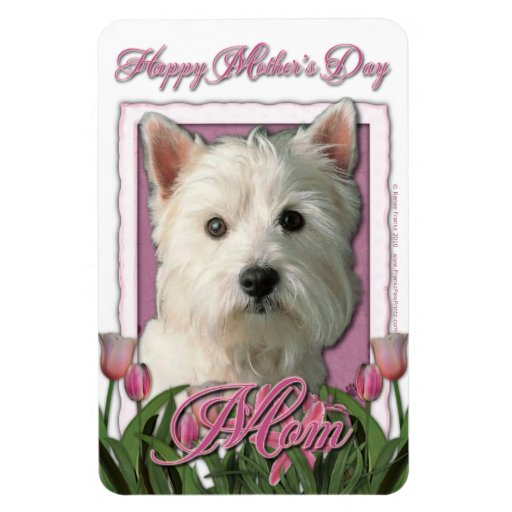 Mothers Day - Pink Tulips - Westie Rectangular Photo Magnet