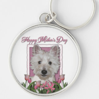 Mothers Day - Pink Tulips - Westie Silver-Colored Round Keychain