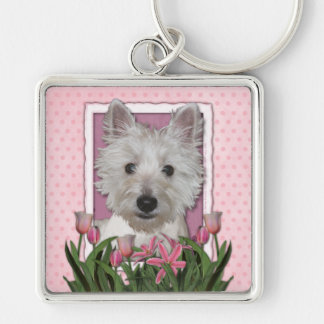 Mothers Day - Pink Tulips - Westie Silver-Colored Square Keychain