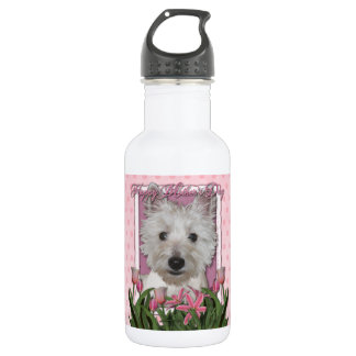 Mothers Day - Pink Tulips - Westie Stainless Steel Water Bottle