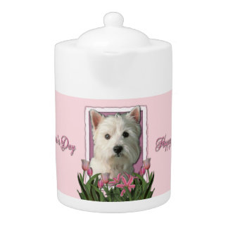 Mothers Day - Pink Tulips - Westie Teapot