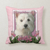 Mothers Day - Pink Tulips - Westie Throw Pillow