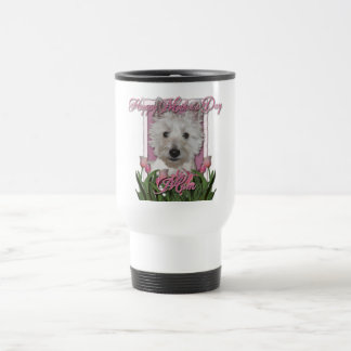 Mothers Day - Pink Tulips - Westie Travel Mug
