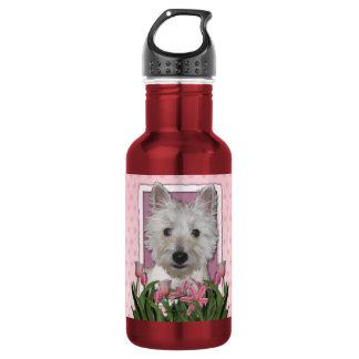 Mothers Day - Pink Tulips - Westie Water Bottle