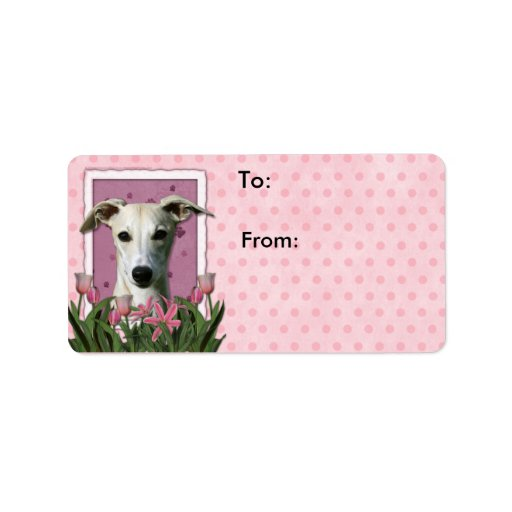 Mothers Day - Pink Tulips - Whippet Label