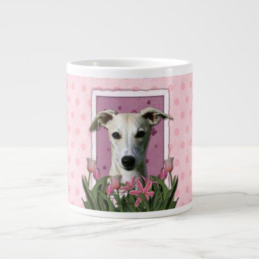 Mothers Day - Pink Tulips - Whippet 20 Oz Large Ceramic Coffee Mug
