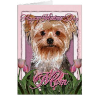 Mothers Day - Pink Tulips - Yorkshire Terrier Greeting Cards