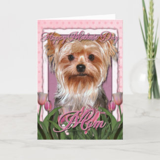 Mothers Day - Pink Tulips - Yorkshire Terrier Card