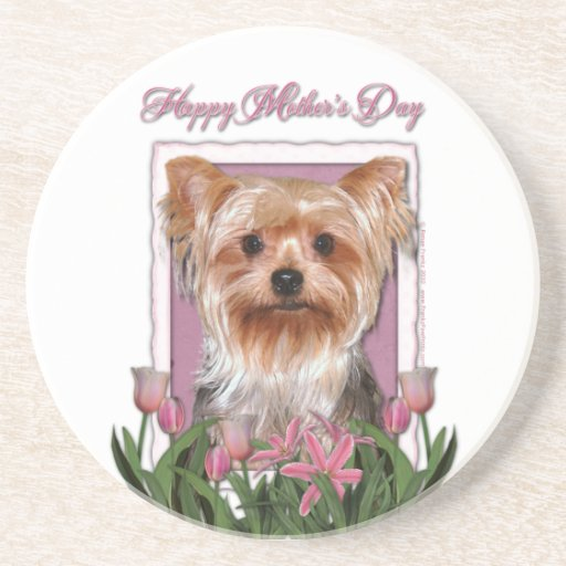 Mothers Day - Pink Tulips - Yorkshire Terrier Coasters