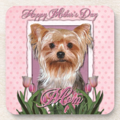 Mothers Day - Pink Tulips - Yorkshire Terrier Drink Coaster