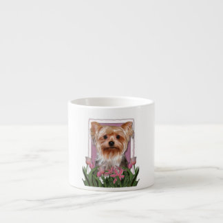 Mothers Day - Pink Tulips - Yorkshire Terrier Espresso Cup