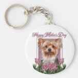 Mothers Day - Pink Tulips - Yorkshire Terrier Key Chain