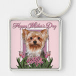 Mothers Day - Pink Tulips - Yorkshire Terrier Key Chains