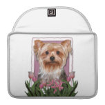 Mothers Day - Pink Tulips - Yorkshire Terrier MacBook Pro Sleeve