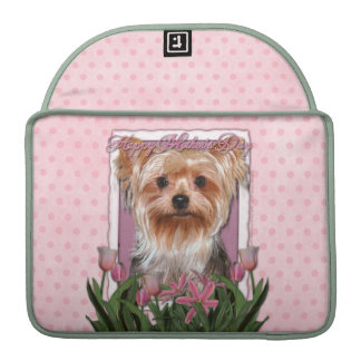 Mothers Day - Pink Tulips - Yorkshire Terrier Sleeves For MacBooks