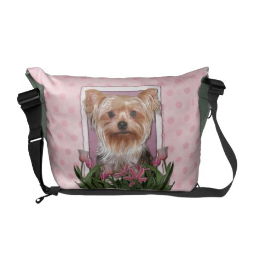 Mothers Day - Pink Tulips - Yorkshire Terrier Commuter Bag