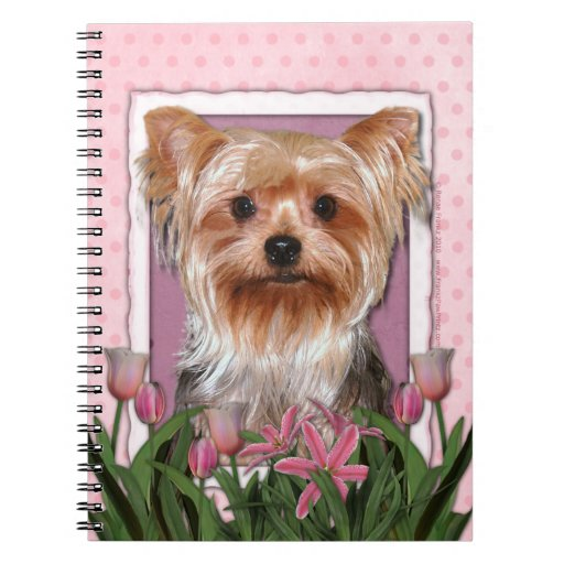 Mothers Day - Pink Tulips - Yorkshire Terrier Note Book
