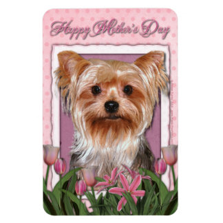 Mothers Day - Pink Tulips - Yorkshire Terrier Rectangular Magnet