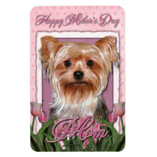 Mothers Day - Pink Tulips - Yorkshire Terrier Vinyl Magnet